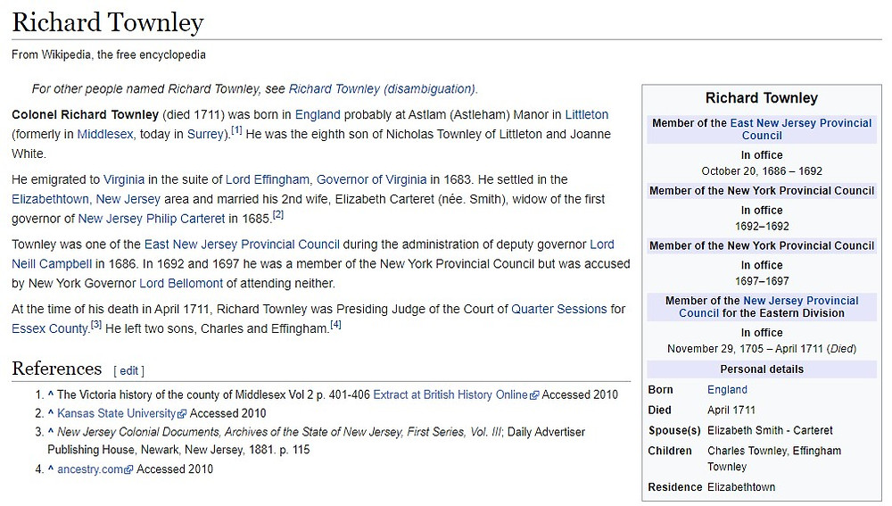 Wikipedia article for Col Richard Townley of Elizabethtown, New Jersey