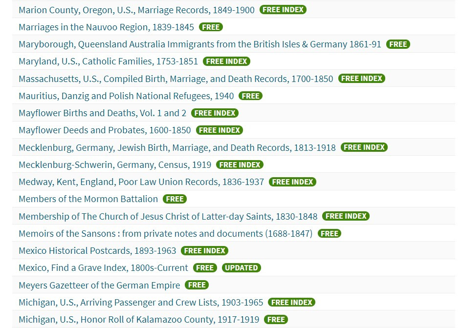 Take Advantage of Ancestry's Free Collections to make your genealogy research dollars stretch.