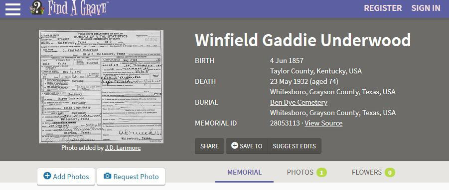 Find a Grave Memorial for Winfield Underwood