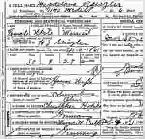 Death record for Magdelana Geiszler