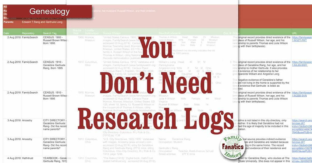 Why you don't need a genealogy research log to do quality research