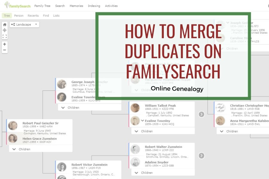 FamilySearch Pedigree View with title how to merge duplicates on FamilySearch