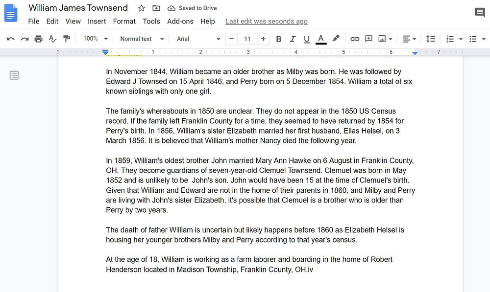 Google Docs featuring a family history story