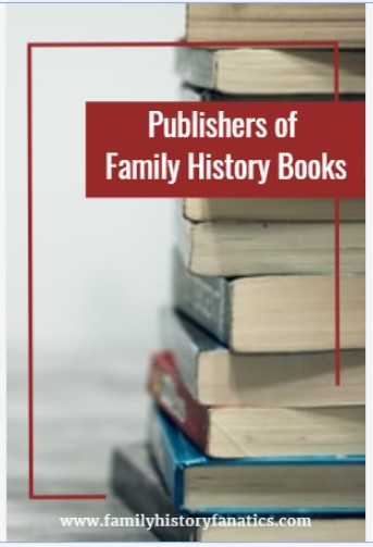 Stack of books with title Publishers of Family History Books