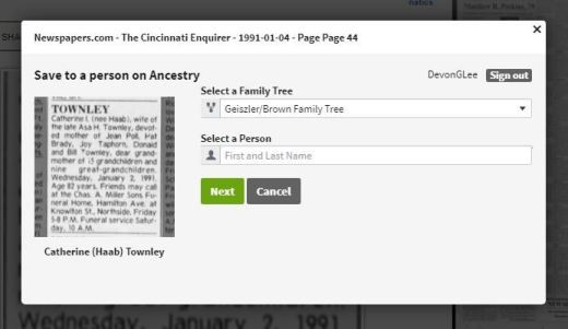 Transfer Clipping to Ancestry