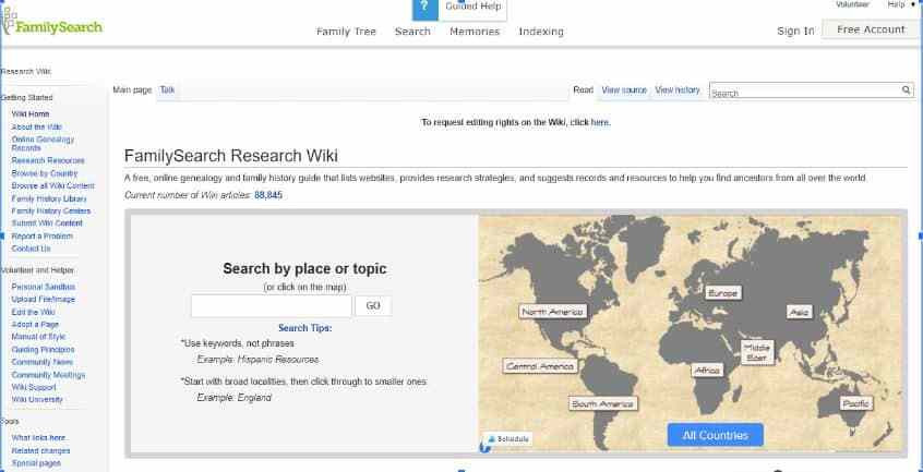 FamilySearch Wiki Homepage