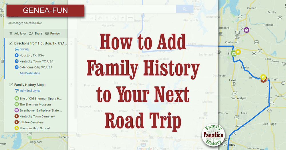 Google MyMaps for Family History Road Trips