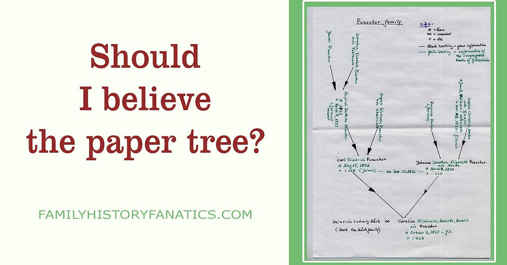 handwritten family tree with question should I believe the paper tree?
