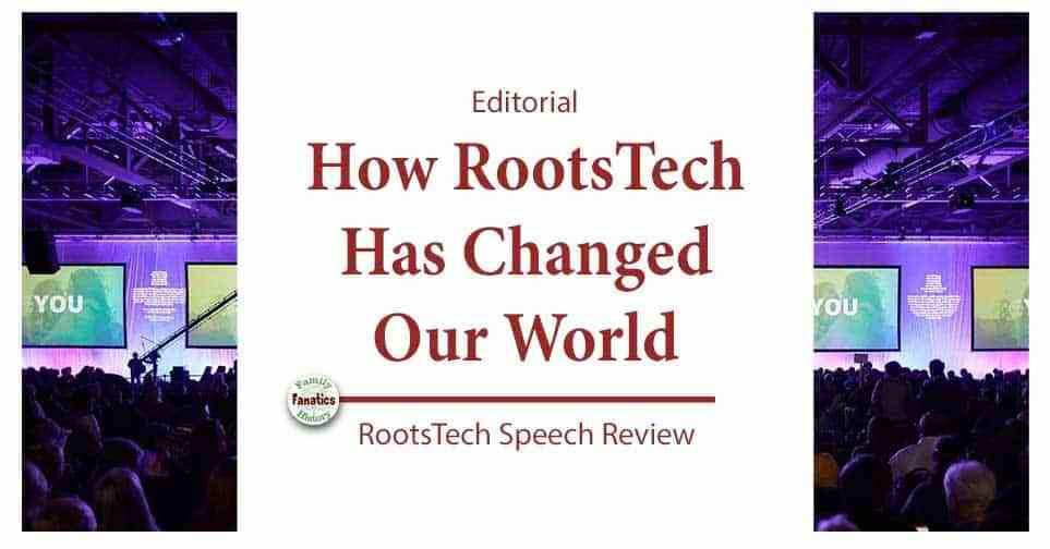 RootsTech Stage with title How RootsTech Has Changed Our World