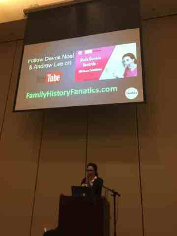Devon Noel Lee teaches at the Ohio Genealogical Society Conference.