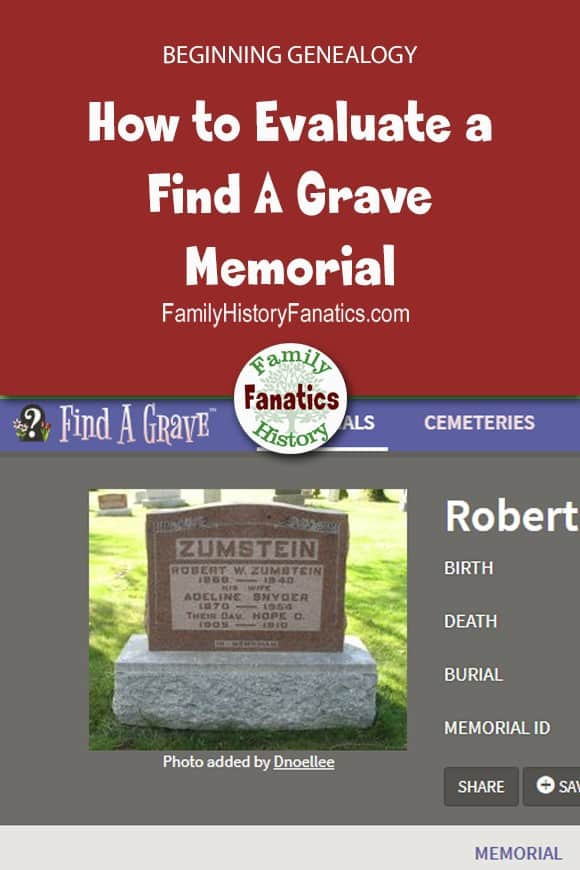 Find a Grave Memorial Page with blog title