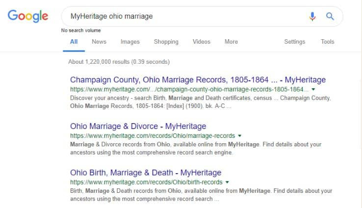Google Search for MyHeritage Collections