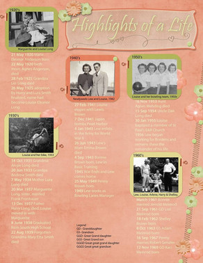 Magazine Style Timeline Layout for Heritage Scrapbook