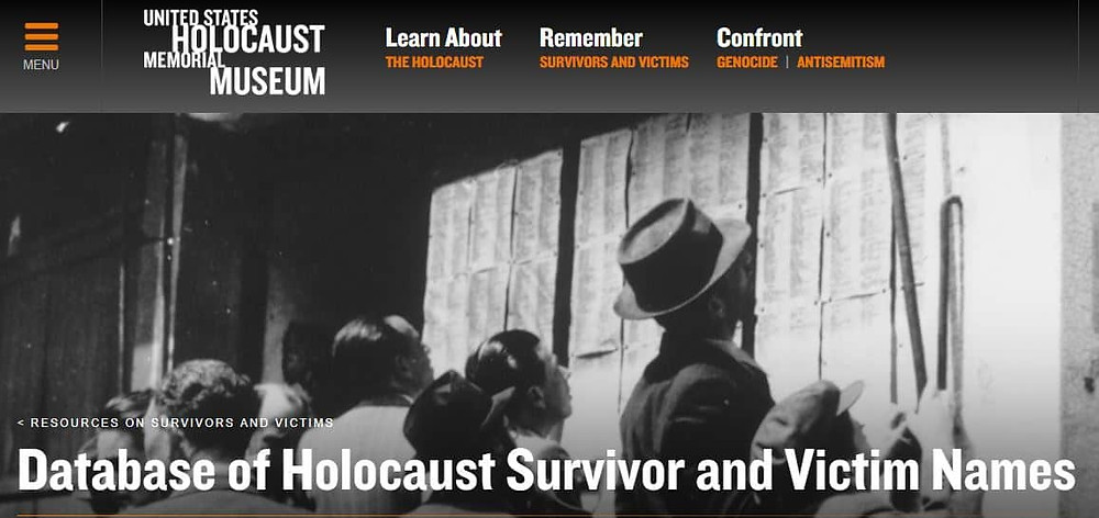 Visit www.ushmm.org for the Database of Survivors and Victims