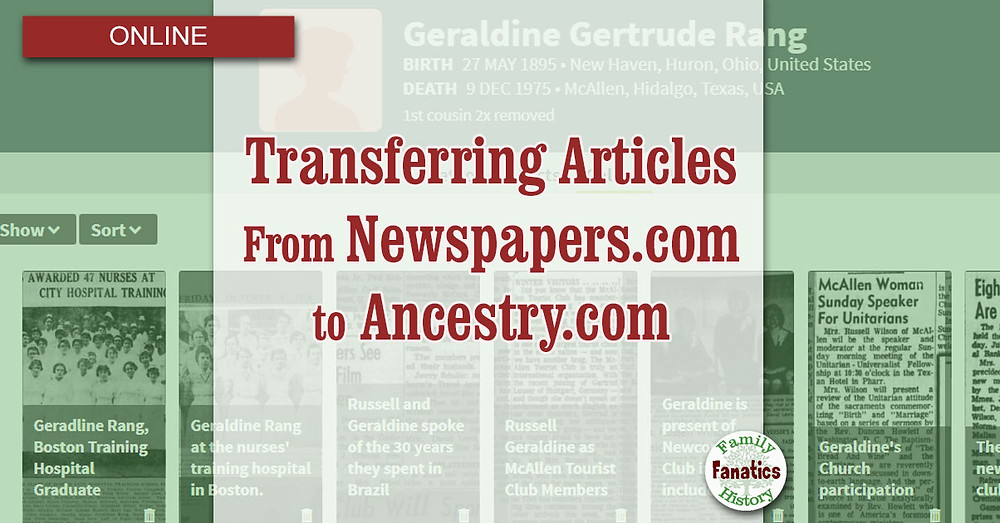 screenshot of Ancestry Media Gallery with Newspapers