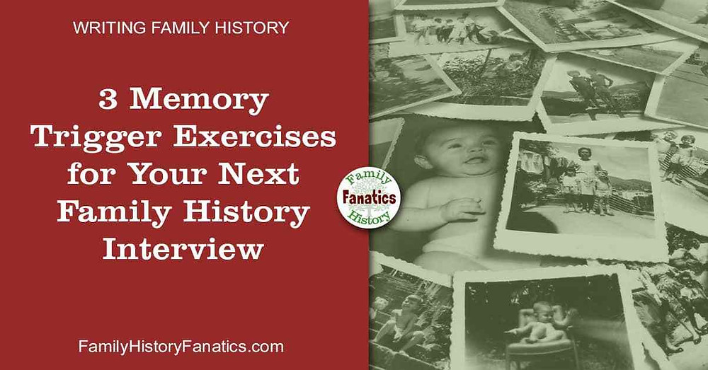 Stack of black and white photos with title 3 memory trigger exercise for family history