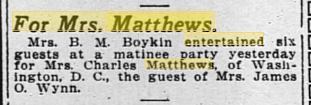 Newspaper clipping for a B M Boykin entertaining in 1914
