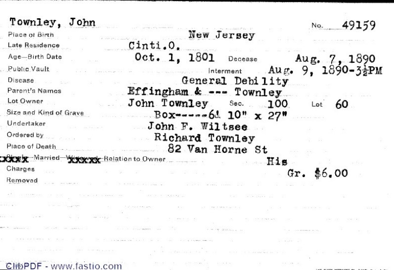 Internment record for John Townley