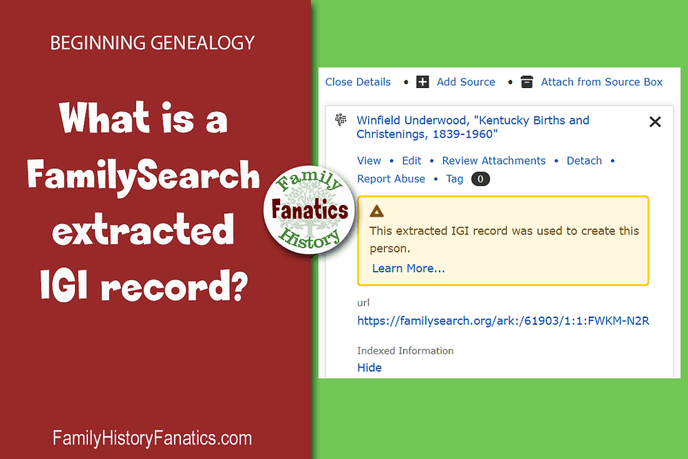 screen capture of FamilySearch IGI notice