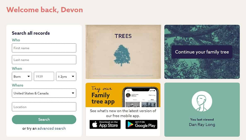 Screenshot of FindMyPast home page with tree-to-tree hint.