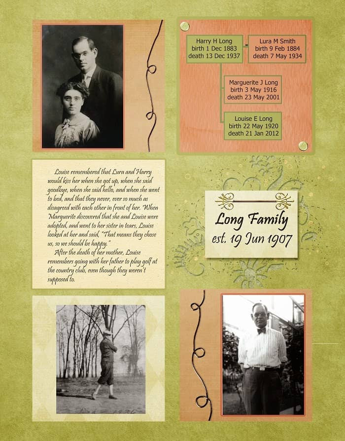 Peach and Green Heritage Scrapbook Layout about grandparents
