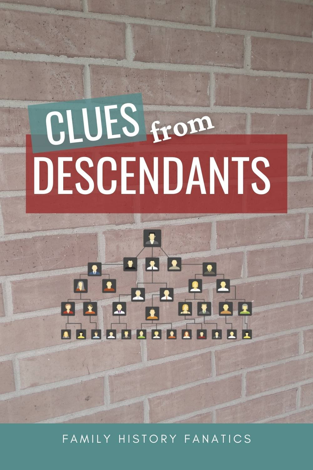 Brick wall with family tree overlay and the words- clues in from descendants.