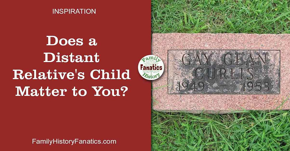 Gravestone for child with question does a distant relatives' child matter to you?