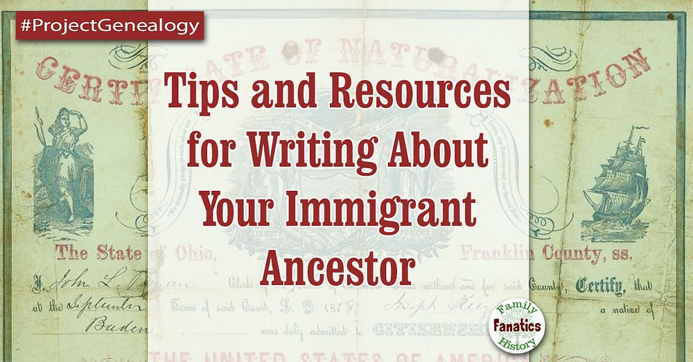 Naturalization record with tips for writing about your immigrant ancestor