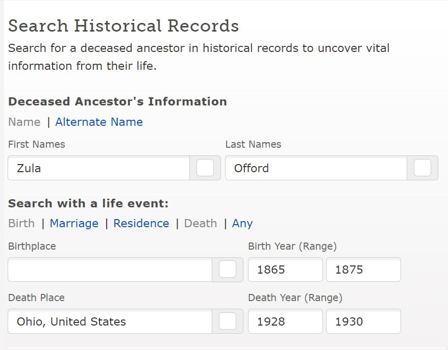 FamilySearch Search for with sample entry