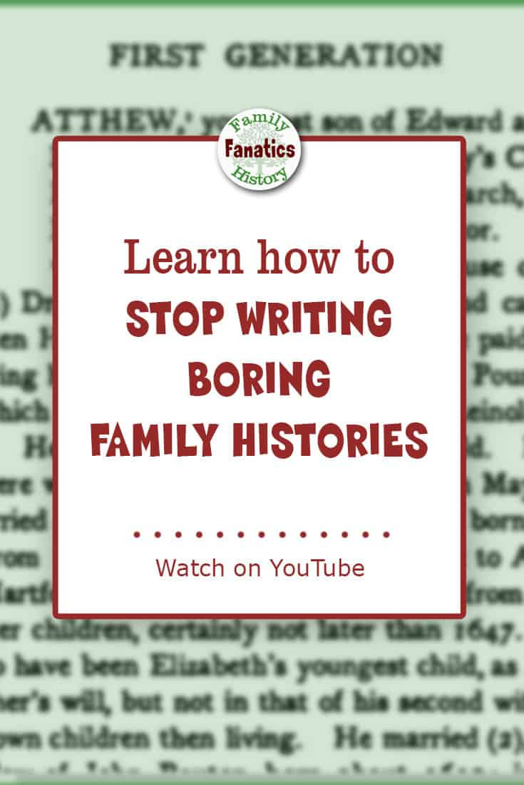 Page from published family history book with text - Learn how to stop writing boring family histories
