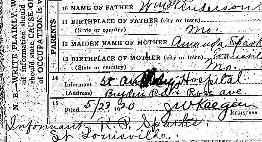 Informant on Agnes Anderson's Death Certificate solves genealogy brick wall