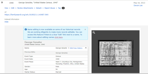 Screenshot of George Geiszler of Columbus, Ohio edited indexed image on FamilySearch.