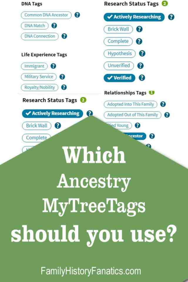 Consider these points when selecting which Ancestry.com MyTreeTag will best help you organize your family tree and genealogical research. #ancestry #genealogy #genealogybasics