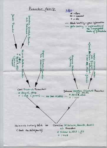 Handwritten paper family tree for genealogy research