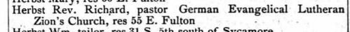 Rev Hersbst in 1883 Columbus, Ohio City Directory