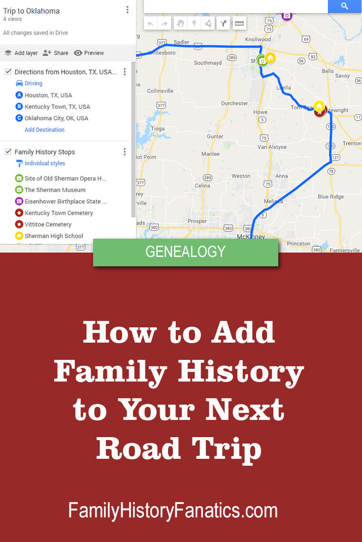 Follow these steps so you can add family history stops to your next family vacation using Google My Maps. #genealogy #roadtrip #familyvacation