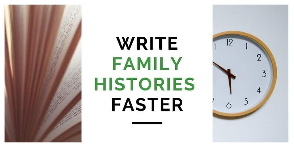 Book and clock for writing a family history book faster