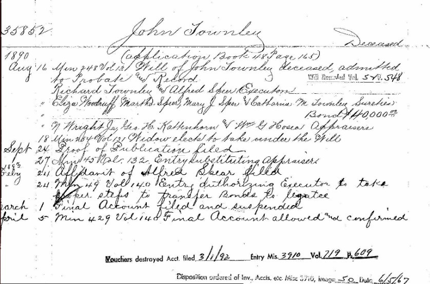1890 Probate estate record for genealogy research brick wall case