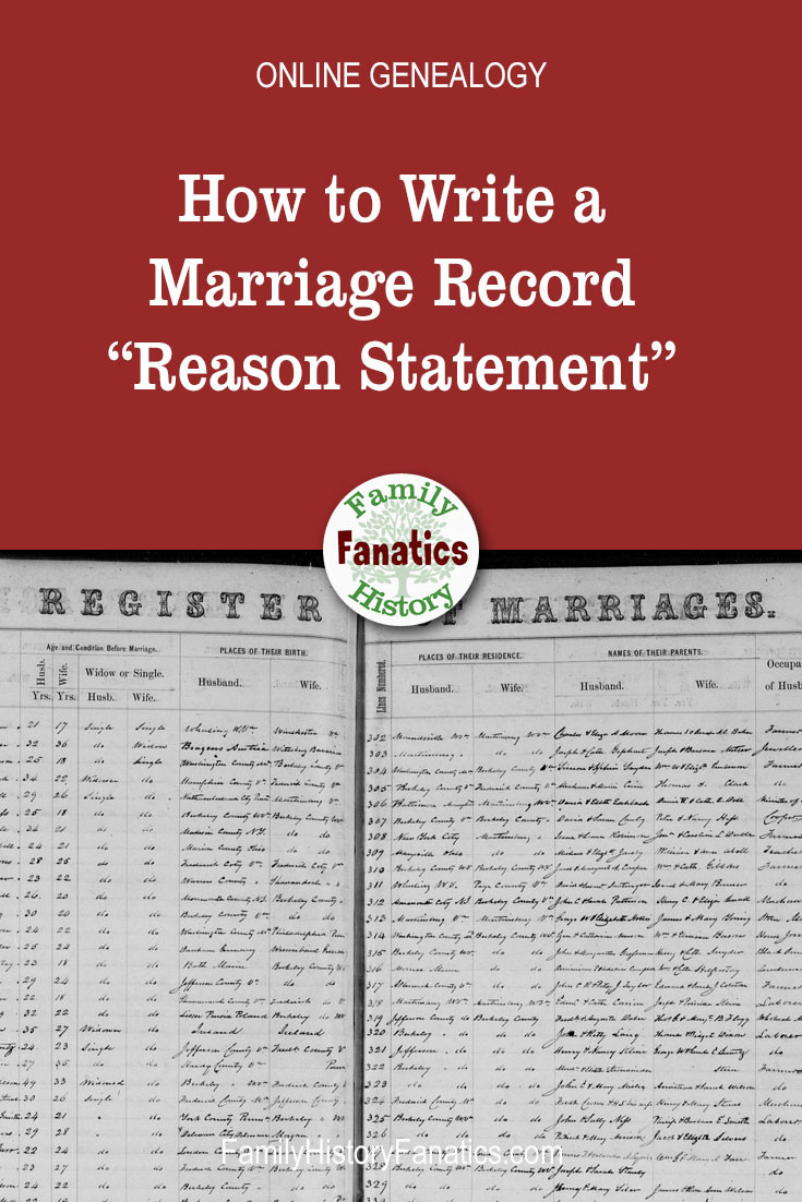scan of marriage record with title how to write a reason statement