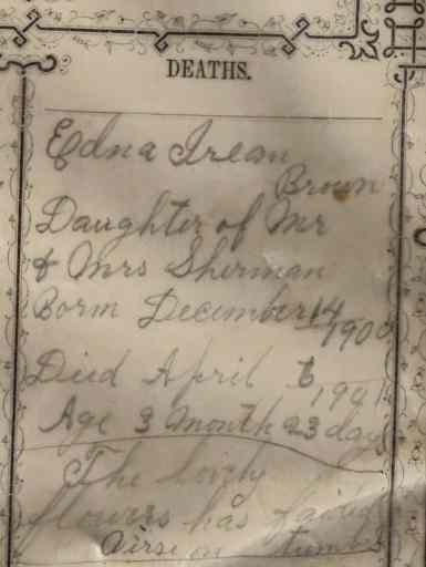Brown Family Bible: Edna Irean's death