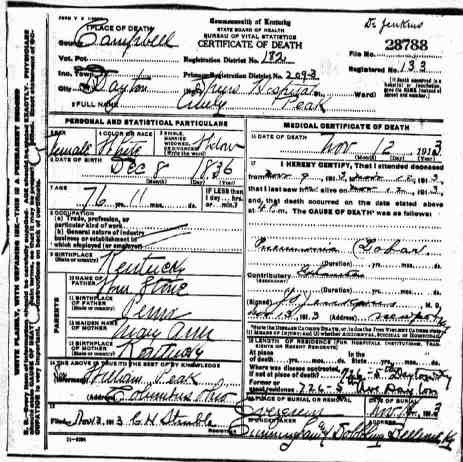 Death record for Emily Peak of Kentucky