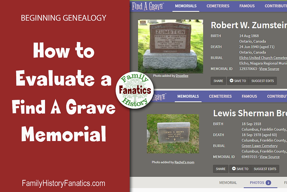Find a Grave Memorials with the title how to evaluate a Find A Grave Memorial