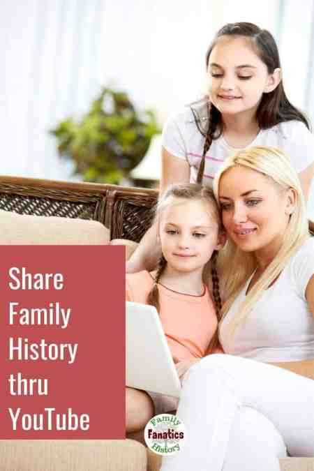 Young mother with children looking at computer with title Share family tree with youtube