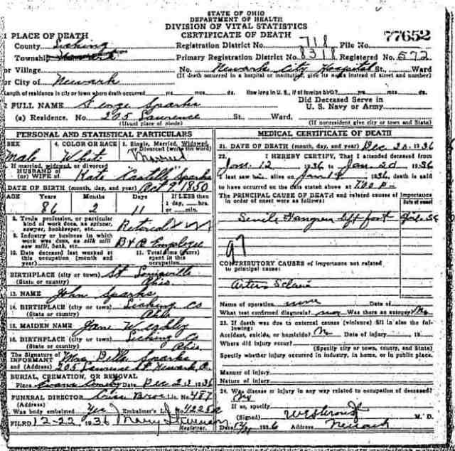 George Sparks Newark Ohio Death Record