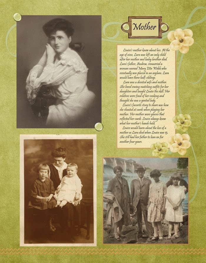 Peach and Green Heritage Scrapbook Layout Mothers