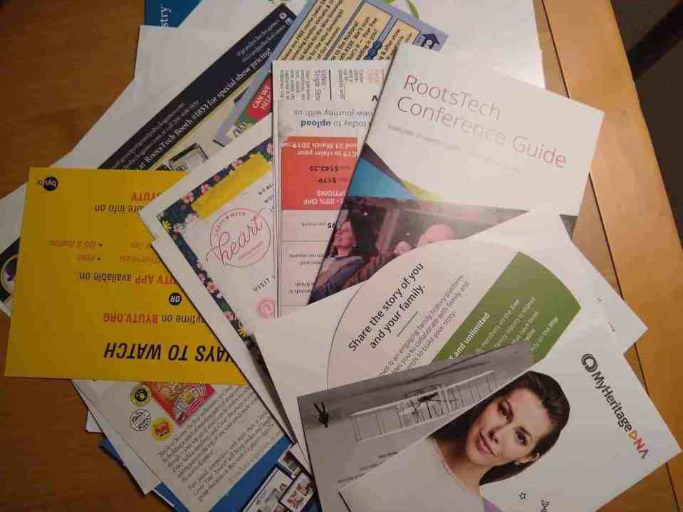 Flyers from RootsTech 2019 Vendors