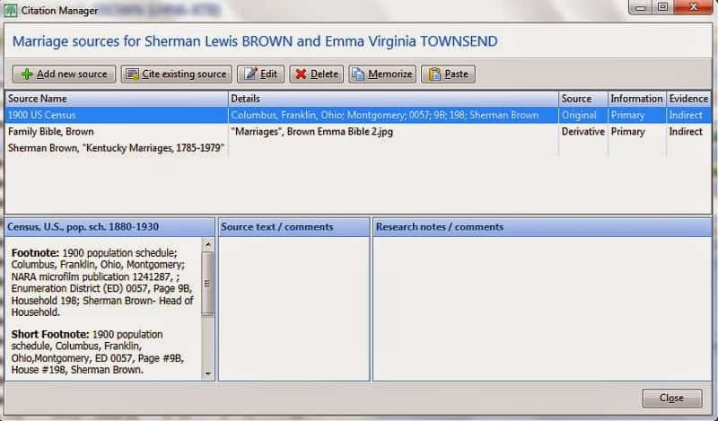 Screen capture of Source Organizer in RootsMagic
