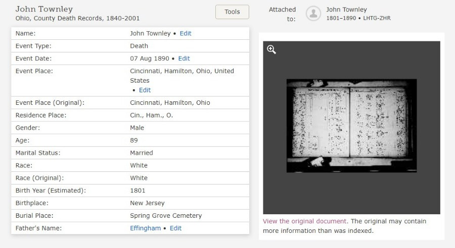 Screen show of death register index for John Townley