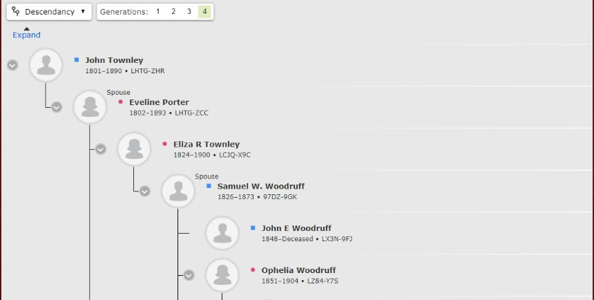 Descendancy view of John Townley on FamilySearch