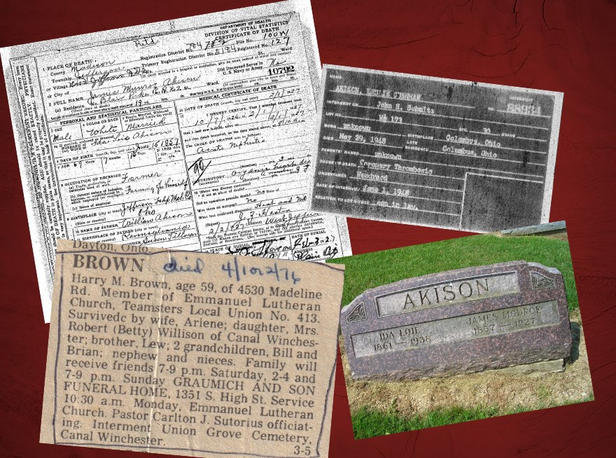 Samples of genealogy death records
